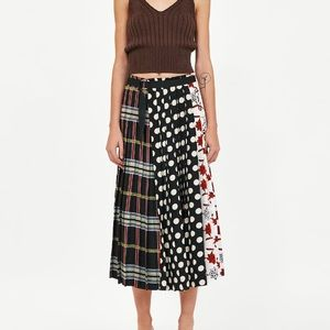 524c3d601 Zara Skirts | Patchwork Print Pleated Skirt | Poshmark
